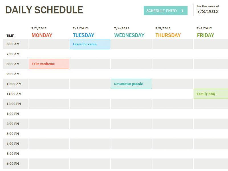 Printable Weekly Calendar Template Excel
